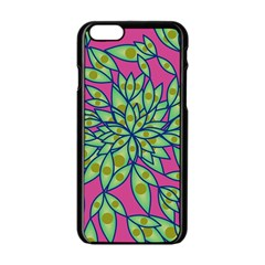 Big Growth Abstract Floral Texture Apple Iphone 6/6s Black Enamel Case