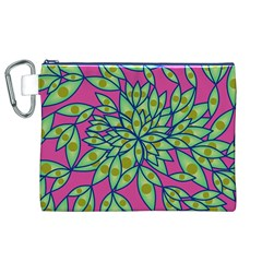 Big Growth Abstract Floral Texture Canvas Cosmetic Bag (xl)