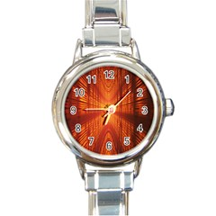 Abstract Wallpaper With Glowing Light Round Italian Charm Watch