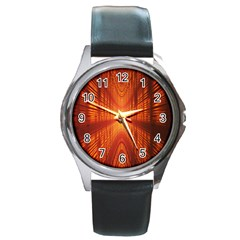 Abstract Wallpaper With Glowing Light Round Metal Watch