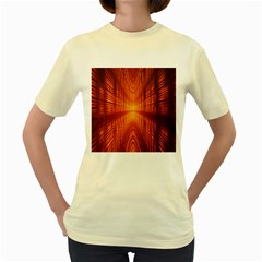 Abstract Wallpaper With Glowing Light Women s Yellow T Shirt