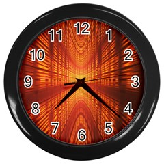 Abstract Wallpaper With Glowing Light Wall Clocks (Black)