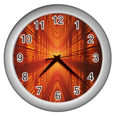 Abstract Wallpaper With Glowing Light Wall Clocks (Silver)