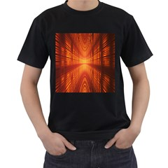 Abstract Wallpaper With Glowing Light Men s T Shirt (black) (two Sided)