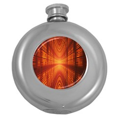 Abstract Wallpaper With Glowing Light Round Hip Flask (5 oz)