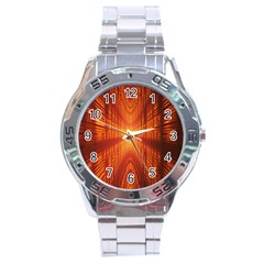 Abstract Wallpaper With Glowing Light Stainless Steel Analogue Watch