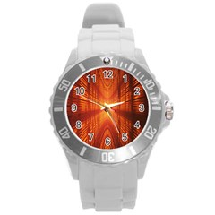 Abstract Wallpaper With Glowing Light Round Plastic Sport Watch (l)