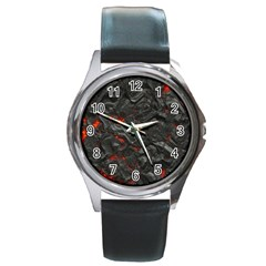 Volcanic Lava Background Effect Round Metal Watch