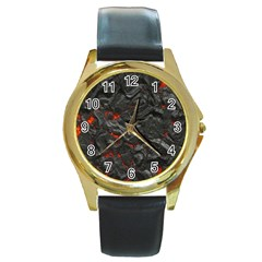Volcanic Lava Background Effect Round Gold Metal Watch