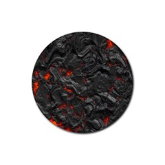 Volcanic Lava Background Effect Rubber Round Coaster (4 Pack)