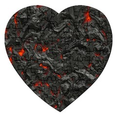 Volcanic Lava Background Effect Jigsaw Puzzle (Heart)