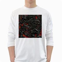 Volcanic Lava Background Effect White Long Sleeve T-Shirts