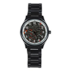 Volcanic Lava Background Effect Stainless Steel Round Watch