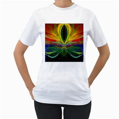 Future Abstract Desktop Wallpaper Women s T-Shirt (White) (Two Sided)