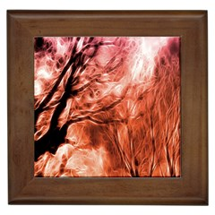 Fire In The Forest Artistic Reproduction Of A Forest Photo Framed Tiles