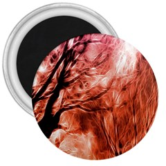 Fire In The Forest Artistic Reproduction Of A Forest Photo 3  Magnets
