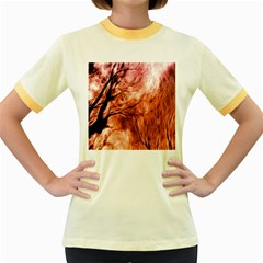 Fire In The Forest Artistic Reproduction Of A Forest Photo Women s Fitted Ringer T Shirts