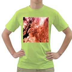 Fire In The Forest Artistic Reproduction Of A Forest Photo Green T Shirt