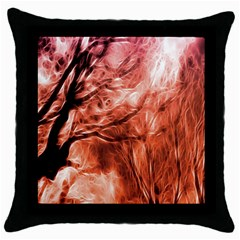 Fire In The Forest Artistic Reproduction Of A Forest Photo Throw Pillow Case (black)