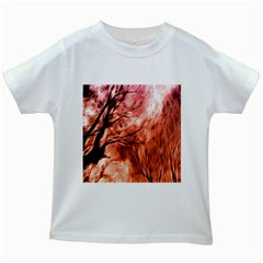 Fire In The Forest Artistic Reproduction Of A Forest Photo Kids White T Shirts