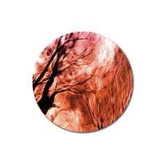 Fire In The Forest Artistic Reproduction Of A Forest Photo Magnet 3  (Round)