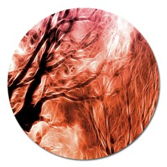 Fire In The Forest Artistic Reproduction Of A Forest Photo Magnet 5  (round)