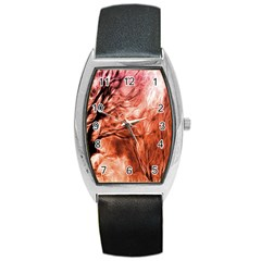 Fire In The Forest Artistic Reproduction Of A Forest Photo Barrel Style Metal Watch