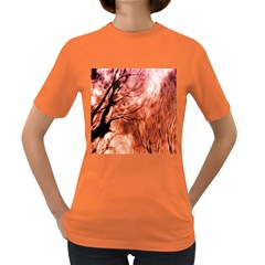 Fire In The Forest Artistic Reproduction Of A Forest Photo Women s Dark T Shirt