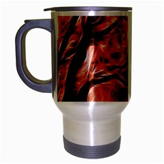 Fire In The Forest Artistic Reproduction Of A Forest Photo Travel Mug (Silver Gray)
