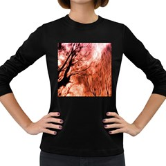 Fire In The Forest Artistic Reproduction Of A Forest Photo Women s Long Sleeve Dark T-Shirts