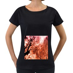 Fire In The Forest Artistic Reproduction Of A Forest Photo Women s Loose Fit T Shirt (black)