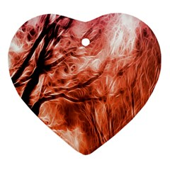 Fire In The Forest Artistic Reproduction Of A Forest Photo Heart Ornament (two Sides)