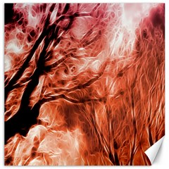 Fire In The Forest Artistic Reproduction Of A Forest Photo Canvas 12  X 12