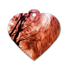 Fire In The Forest Artistic Reproduction Of A Forest Photo Dog Tag Heart (one Side)