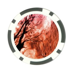 Fire In The Forest Artistic Reproduction Of A Forest Photo Poker Chip Card Guard