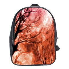 Fire In The Forest Artistic Reproduction Of A Forest Photo School Bags(large)
