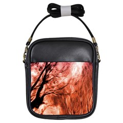 Fire In The Forest Artistic Reproduction Of A Forest Photo Girls Sling Bags