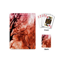Fire In The Forest Artistic Reproduction Of A Forest Photo Playing Cards (mini)