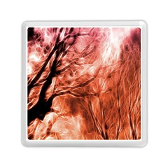 Fire In The Forest Artistic Reproduction Of A Forest Photo Memory Card Reader (square)