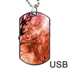 Fire In The Forest Artistic Reproduction Of A Forest Photo Dog Tag Usb Flash (two Sides)