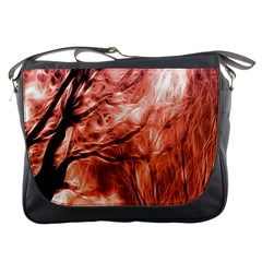 Fire In The Forest Artistic Reproduction Of A Forest Photo Messenger Bags