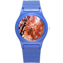 Fire In The Forest Artistic Reproduction Of A Forest Photo Round Plastic Sport Watch (S)