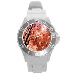 Fire In The Forest Artistic Reproduction Of A Forest Photo Round Plastic Sport Watch (l)