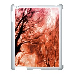 Fire In The Forest Artistic Reproduction Of A Forest Photo Apple iPad 3/4 Case (White)