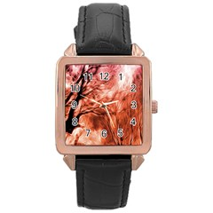 Fire In The Forest Artistic Reproduction Of A Forest Photo Rose Gold Leather Watch