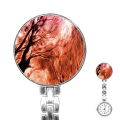Fire In The Forest Artistic Reproduction Of A Forest Photo Stainless Steel Nurses Watch