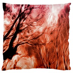 Fire In The Forest Artistic Reproduction Of A Forest Photo Standard Flano Cushion Case (one Side)