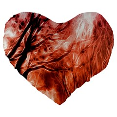 Fire In The Forest Artistic Reproduction Of A Forest Photo Large 19  Premium Flano Heart Shape Cushions