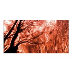 Fire In The Forest Artistic Reproduction Of A Forest Photo Satin Shawl