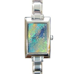 Colorful Patterned Glass Texture Background Rectangle Italian Charm Watch